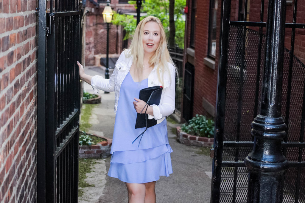 perfect date outfit walking around Boston's Beacon Hill