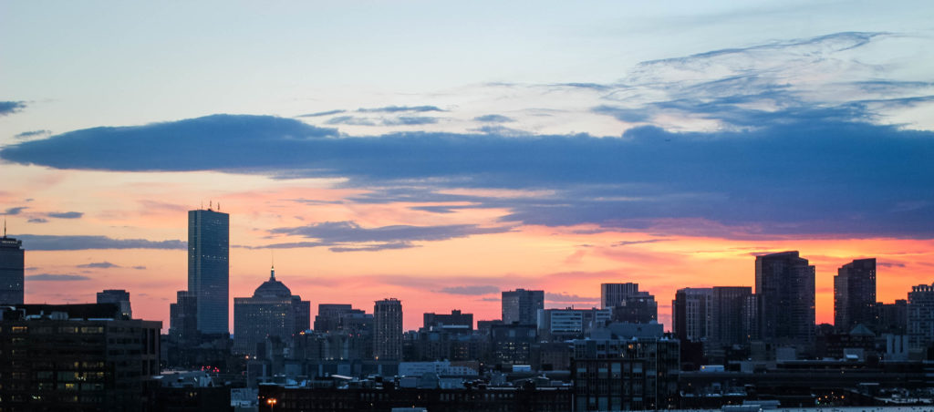 View of the Boston Skyline at Sunset from Aloft Boston Seaport